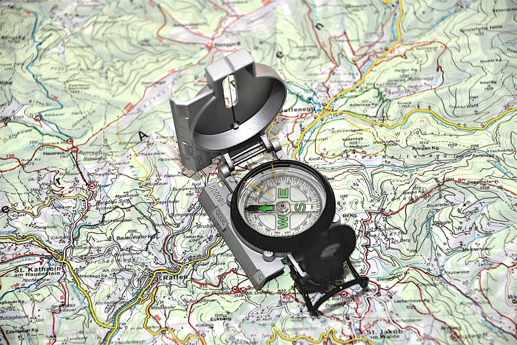 Compass on Map - Orienteering - Living Healthy Wealthy Wise