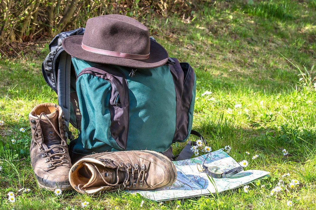 Hiker Gear with Compass and Map - Orienteering - Living Healthy Wealthy Wise